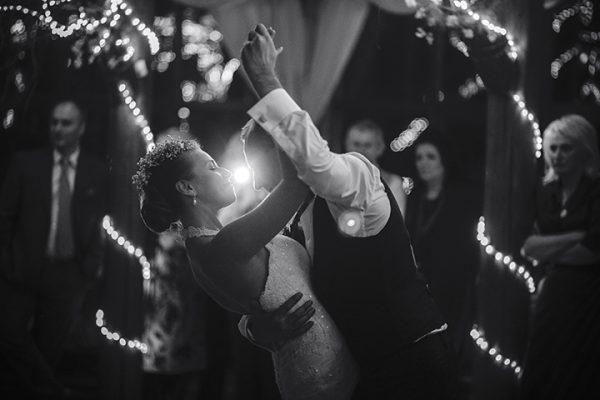 wedding dance of beautiful young newlywed couple